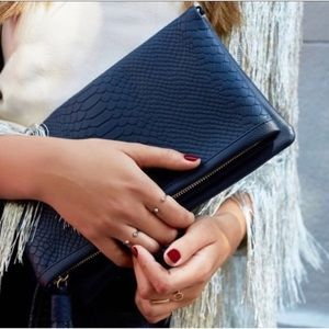 Gigi New York Navy Blue Fold Over Clutch Bag